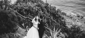 Ritratto sposi in riva al mare