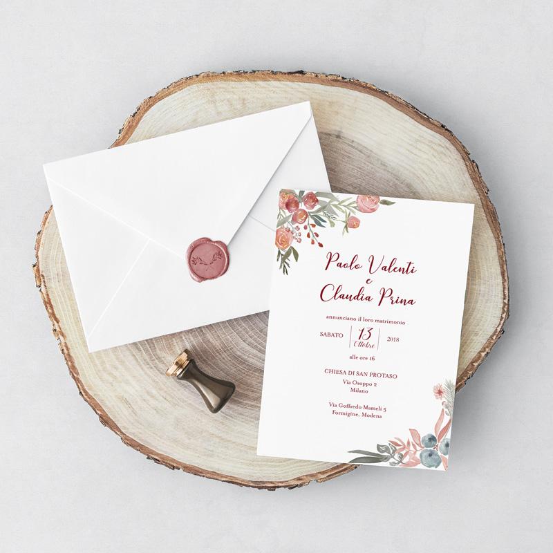 Partecipazioni di matrimonio the white rose